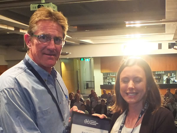 Assoc Fellow Krystal Hoult AFAHA with vice president Simon Cruickshank