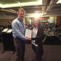 Simon Cruickshank presents Associate Fellow of AHA certificate to Krystal Hoult