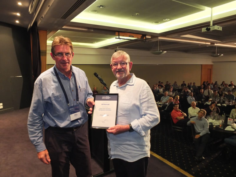 Simon Cruickshank presents Fellow of AHA certificate to Bill Barratt