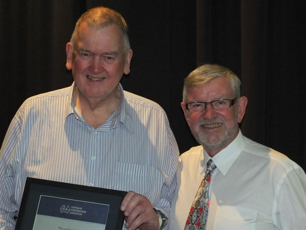 Fellow Peter Heweston FAHA with President Bill Barratt FAHA